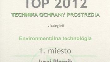 Diplom TOP 2012 Technika ochrany prostredia v kategórii Environmentálna technológia