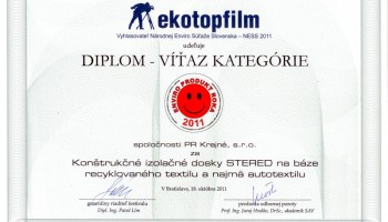 Diplom pre víťaza kategórie Enviro produkt roka